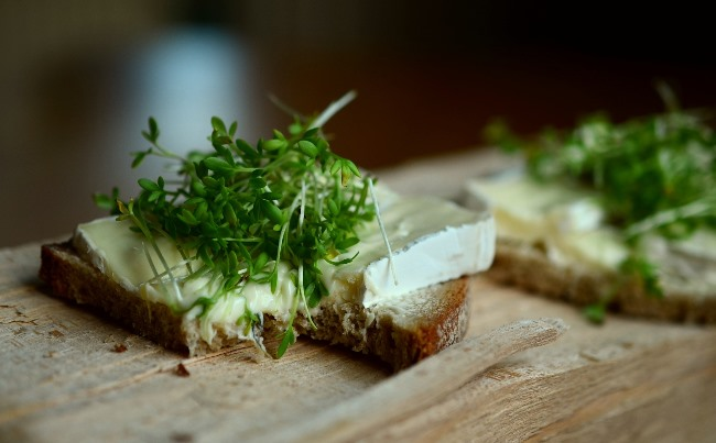 Zelené klíčky, chléb