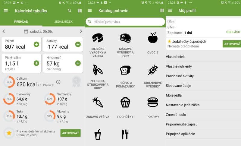 Kalorické tabulky aplikace