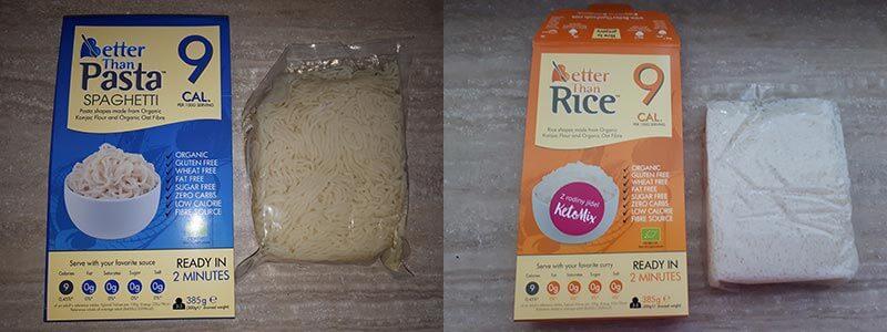 konjacová rýže, konjacové těstoviny