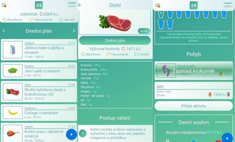 Aplikace Body24 zahrnuje nejen jídelníček na hubnutí, ale i pohybovou aktivitu a pitný režim