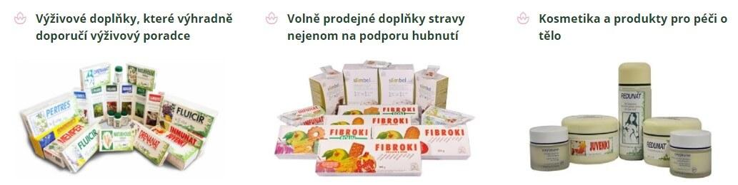 Nabídka produktů zahrnuje nejen výživové doplňky, ale i kosmetiku