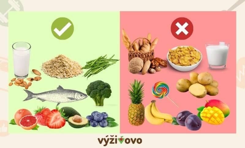 Seznam potravin, které je vhodné zařadit do jídelníčku na hubnutí a které zase ne.