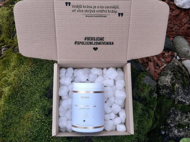 Kolagenový drink Venira Premium je dodáván ve velmi pěkném balení