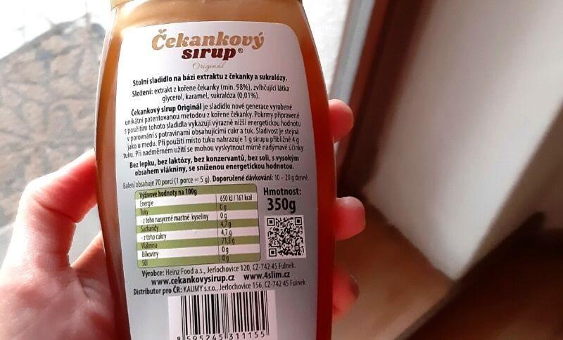 Čekankový sirup neobsahuje žádné umělé přísady a chemické látky